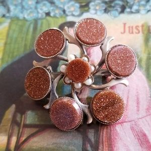 Vintage brooch with goldstone and faux seed pearls